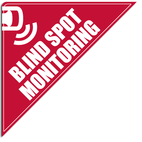 "[""Blind Spot Monitoring""] Standard, Corner Windshield Decals (12""x12""x17"")"