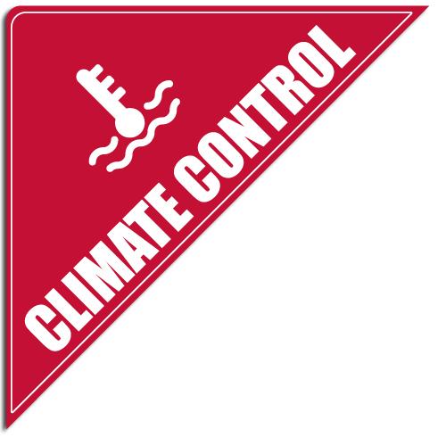 "[""Climate Control""] Standard, Corner Windshield Decals (12""x12""x17"")"