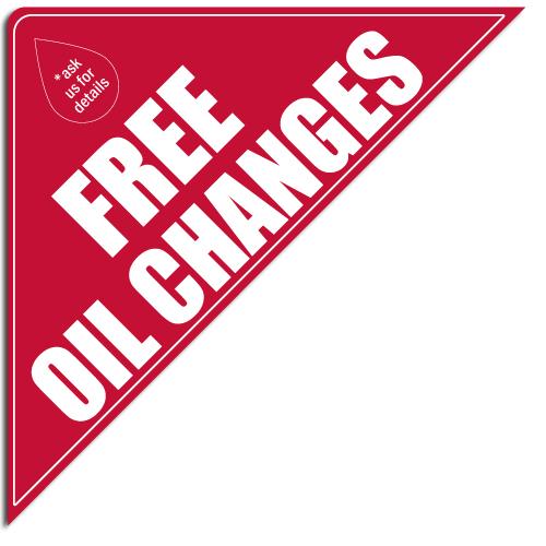 """[""""Free Oil Changes""""] Standard, Corner Windshield Decals (12""""x12""""x17"""")"""