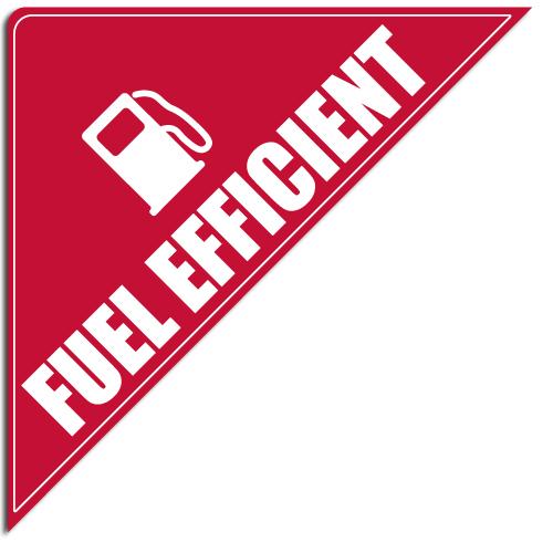 """[""""Fuel Efficient""""] Standard, Corner Windshield Decals (12""""x12""""x17"""")"""