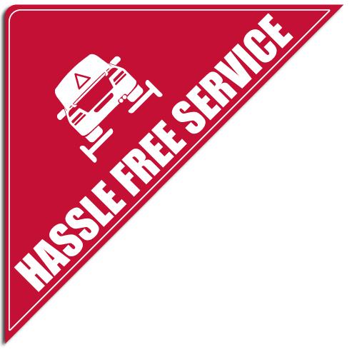 """[""""Hassle Free Service""""] Standard, Corner Windshield Decals (12""""x12""""x17"""")"""