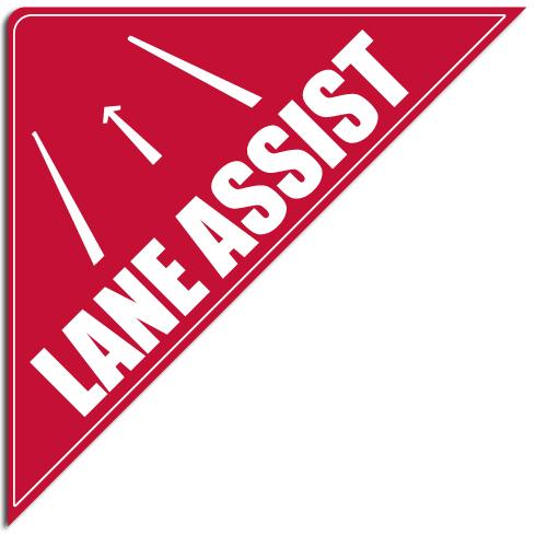 """[""""Lane Assist""""] Standard, Corner Windshield Decals (12""""x12""""x17"""")"""
