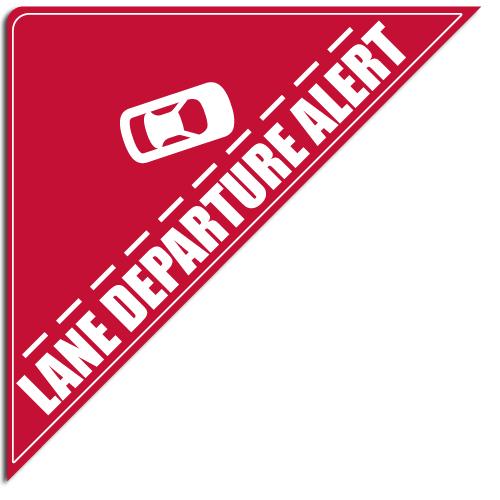"""[""""Lane Departure Alert""""] Standard, Corner Windshield Decals (12""""x12""""x17"""")"""