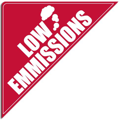 """[""""Low Emmissions""""] Standard, Corner Windshield Decals (12""""x12""""x17"""")"""