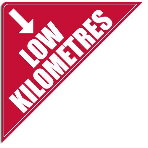 """[""""Low Kilometres""""] Standard, Corner Windshield Decals (12""""x12""""x17"""")"""