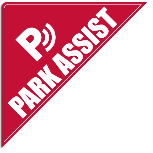 "[""Park Assist""] Standard, Corner Windshield Decals (12""x12""x17"")"