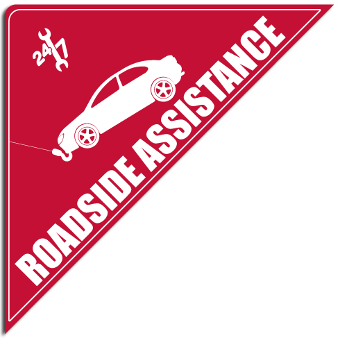 "[""Roadside Assistance""] Standard, Corner Windshield Decals (12""x12""x17"")"