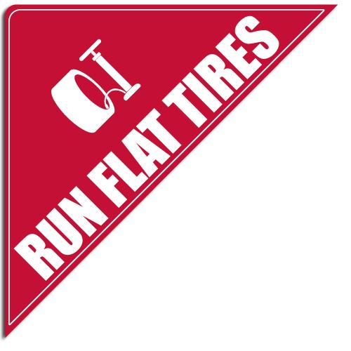 """[""""Run Flat Tires""""] Standard, Corner Windshield Decals (12""""x12""""x17"""")"""