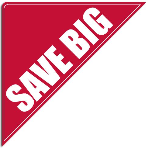 "[""Save BIG""] Standard, Corner Windshield Decals (12""x12""x17"")"