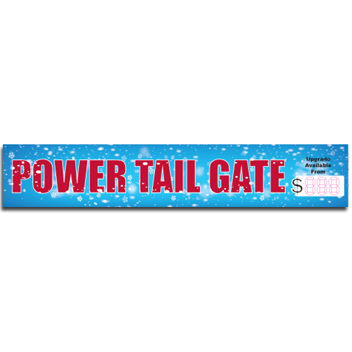 "[""Power Tail Gate""] Standard, Half Windshield Decals (4""x22"")"