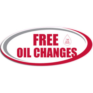 "[""Free Oil Changes""] Standard, Oval Decals (6""x14"")"