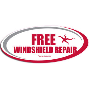 "[""Free Windshield Crack Repair""] Standard, Oval Decals (6""x14"")"