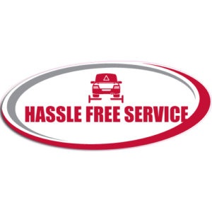 "[""Hassle Free Service""] Standard, Oval Decals (6""x14"")"