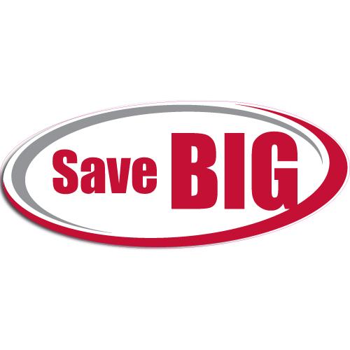 "[""Save BIG""] Standard, Oval Decals (6""x14"")"
