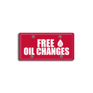 """""""Free Oil Changes""""Plate Decals"""