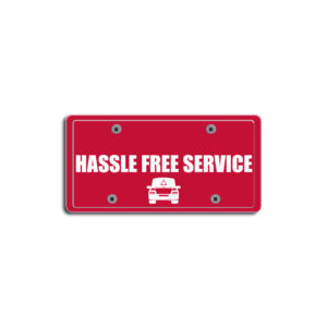 """""""Hassle Free Service""""Plate Decals"""