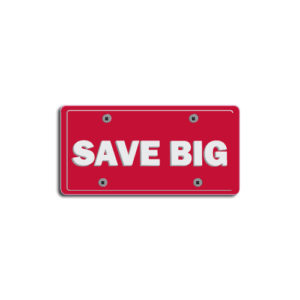 """""""Save BIG""""Plate Decals"""