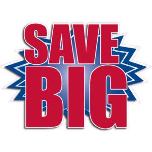 """[""""Save BIG""""] Standard, Starburst Decals (14""""x20"""")"""
