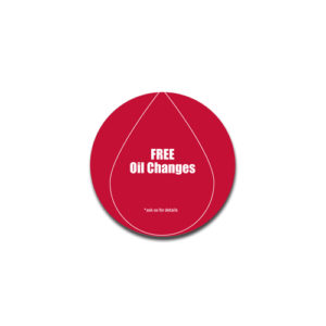 """""""Free Oil Changes"""" Badge Decals"""