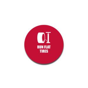 """Run Flat Tires""  Badge Decals"