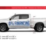 DealerPOP vinyl graphic for General Motors Dealerships (June 2020). Message says 0% Financing for 84 Months.