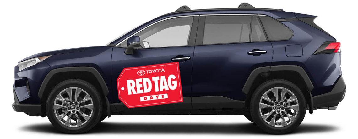 Medium Red Tag Days vinyl decal on the side of a 2020 Toyota Camry.
